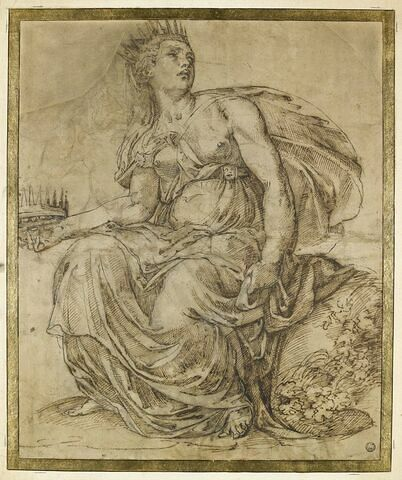 Femme drapée et couronnée, assise