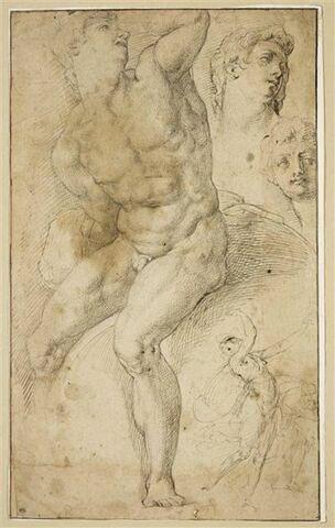 Etudes : homme nu assis sur un rocher ; deux têtes ; deux figures animées