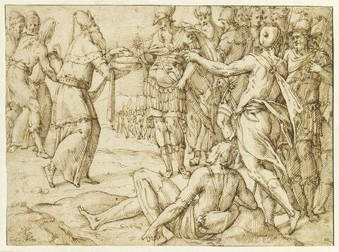 Melchisedech offrant le pain et le vin à Abraham