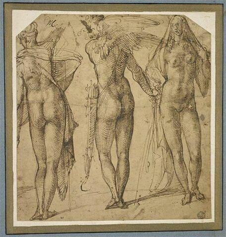 Deux figures nues, vues de dos, dont une ailée, et une femme nue de face
