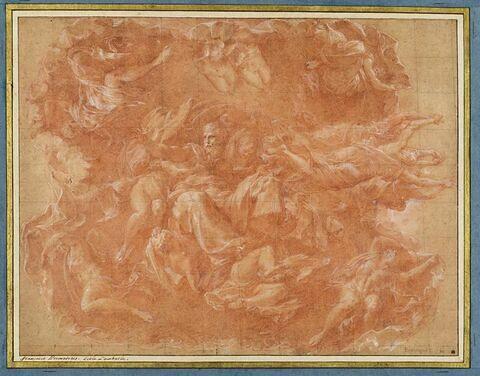 Dieu le Père soutenu par les anges sous un pavillon porté par d'autres anges