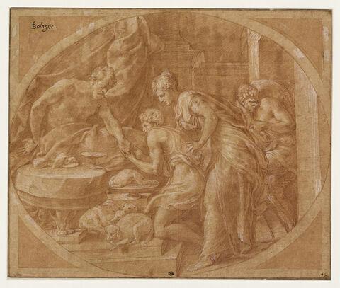Jacob prenant la main d'Isaac présenté par Rebecca