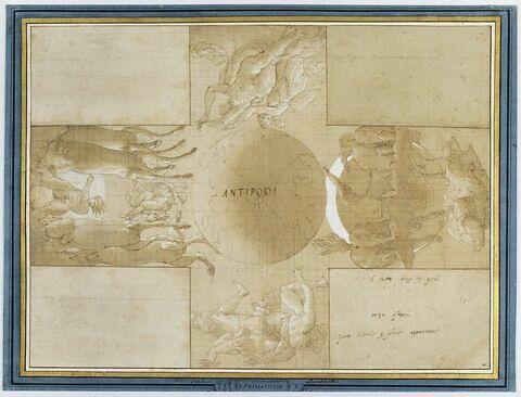 Les Antipodes: le globe terrestre, avec les chars de Diane et d'Apollon