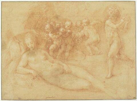 Femme nue couchée avec six enfants dont cinq portent une corne d'abondance