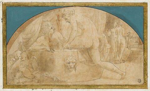 Mars et Vénus au bain, deux amours et deux servantes