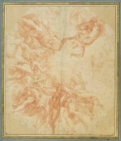 Anges dans les nuées tenant une cordelière avec un noeud de capucin