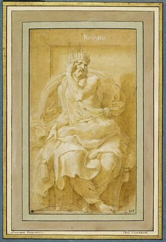 Le roi Zaleucus, assis sur un trône, montrant son oeil crevé