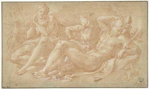 Apollon, Amour et Cyparissus (?), dit aussi L'Amour endormi entre Vénus et Adonis (?) ou Diane attendant le réveil d'Endymion