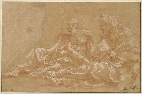Deux vieillards drapés, tournés vers la gauche et assis à terre