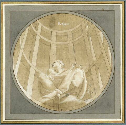 Junon assise sur des nuées, dans un édicule