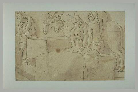 Trois hommes, un mulet et un âne, auprès d'un chargement