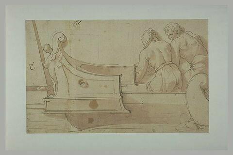 Deux hommes dans un bateau de type antique