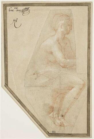 Femme nue, assise, de profil vers la  droite