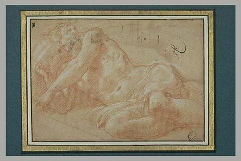 Homme aux trois quarts nu, couché sur le côté droit : Neptune