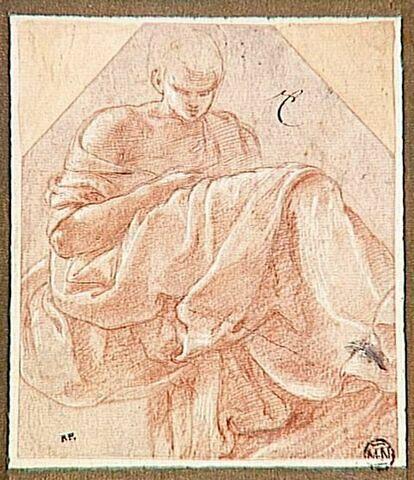 Figure drapée, assise de trois quarts vers la droite, le visage penché