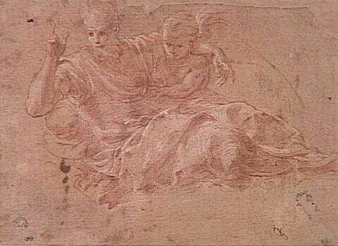 Dieu le Père bénissant, assis dans les nuées, soutenu par deux anges