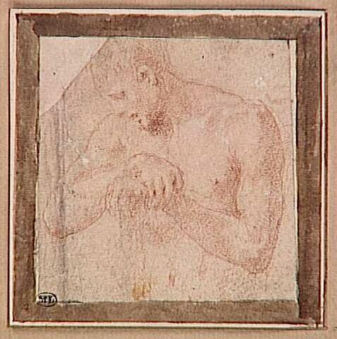 Homme nu, en buste, appuyé sur un bâton, la tête de profil vers la gauche