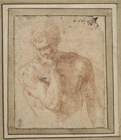 Homme nu, vu en buste, la tête appuyée sur la main droite