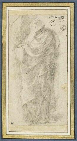 Figure drapée, debout, regardant vers la droite