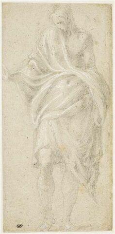 Jeune homme drapé, debout, de face, la tête tournée vers la gauche