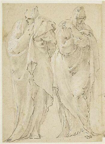 Deux figures drapées, debout de face, regardant dans des directions opposées