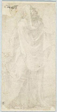 Figure d'homme drapé, debout, de profil, regardant vers le haut
