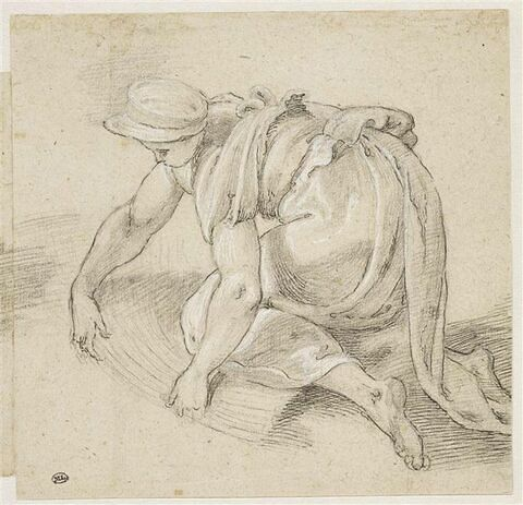 Une femme agenouillée, réunissant des blés en gerbes