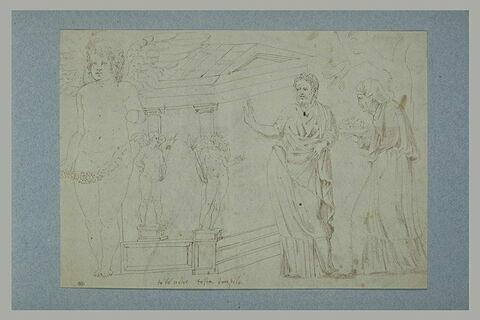 Etudes d'après l'antique dont deux statues ailées portant des flambeaux