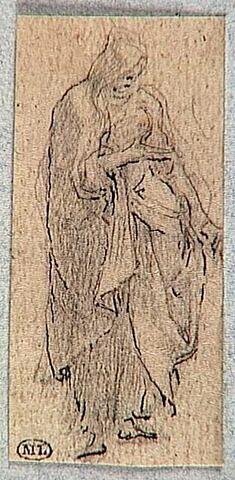 Figure drapée, de trois quarts vers la droite