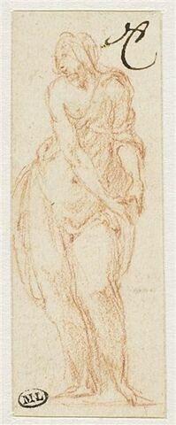 Une femme à demi nue, debout, regardant à gauche