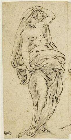 Une femme à demi nue, debout, paraissant passer un drapé sur sa tête