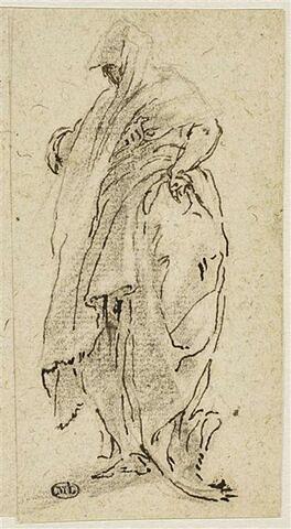 Une figure drapée, de trois quarts à gauche, la main gauche sur la hanche