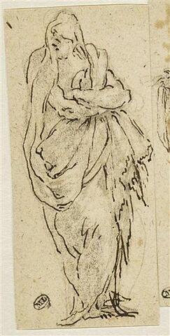 Une figure drapée regardant vers la gauche, les bras croisés sur la poitrine