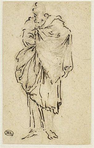 Une figure drapée, debout, tournée vers la gauche