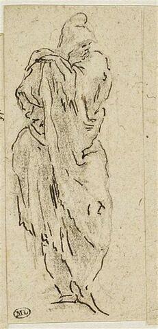 Figure drapée, debout, la main gauche posée sur l'épaule, regardant à droite
