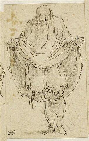 Figure d'homme debout, les bras ouverts, la tête recouverte d'un grand voile