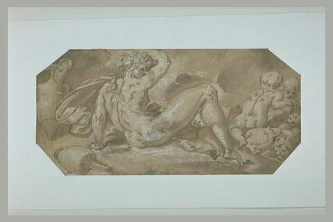 Bacchus enivré, couché à terre, avec trois enfants montés sur des lions
