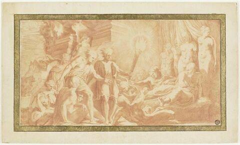 Hercule, dans les bras d'Omphale réveillé par la Sagesse