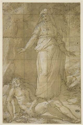 Le Christ mort, étendu à terre, devant la Vierge de douleur