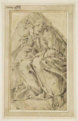 Saint Jean l'Evangéliste, accroupi