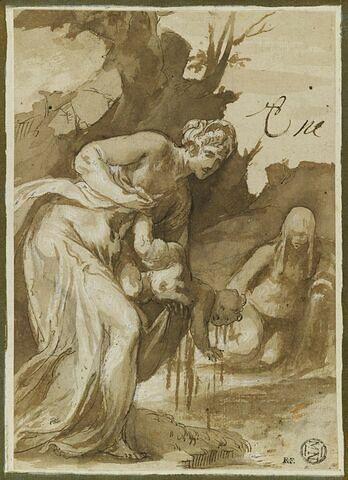 Thétis trempant Achille dans les eaux du Styx