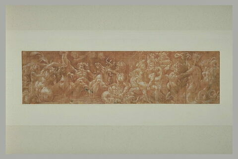 Frise de chevaux marins, de satyres, de tritons, avec Neptune