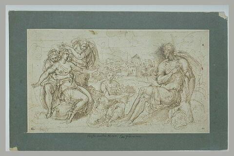 Femme blessée d'une flèche, soutenue par d'autres, devant un guerrier assis