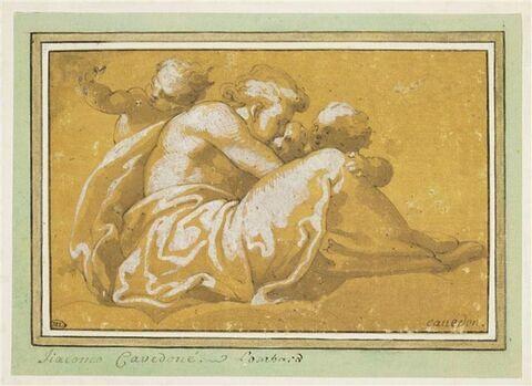 Figure assise sur un nuage, entourée de trois enfants