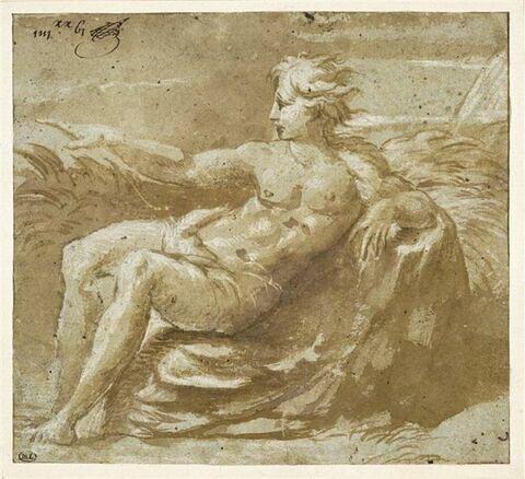 Homme nu, assis sur des feuillages, tourné vers la gauche