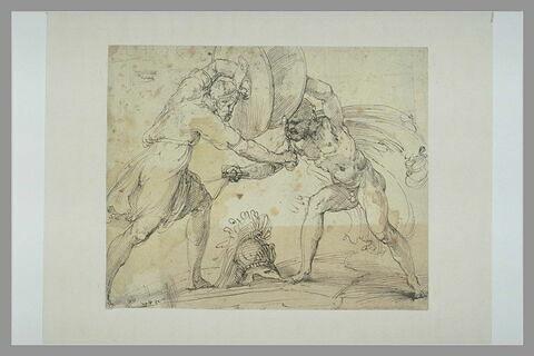 Deux hommes armés d'épées et de boucliers, combattant
