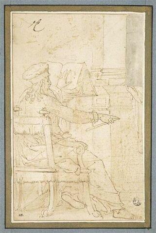 Philosophe assis devant un pupitre, lisant