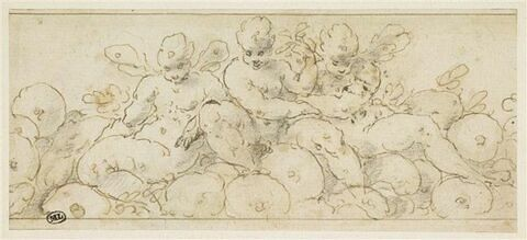 Trois petites figures ailées assises sur des fruits