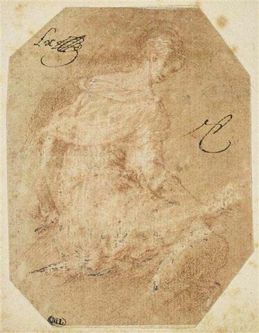 Femme assise à terre, tournée vers la droite, regardant le spectateur