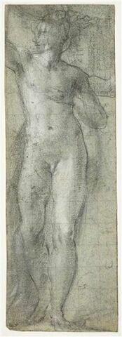 Homme nu, debout, tendant le bras droit
